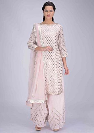 745ea7b3fb Baby pink cotton suit set with palazzo bottoms and chiffon dupatta only on  Kalki ...