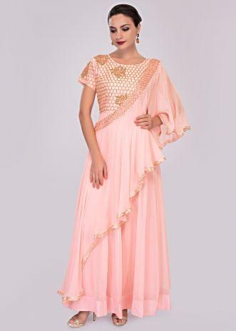 Baby pink cut dana embroidered anarkali dress paired with a pre stitched georgette dupatta