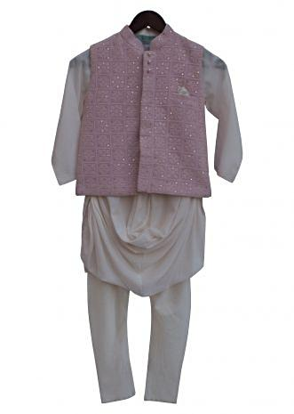 Baby Pink Embroidery Nehru Jacket with Offwhite Kurta and churidar by Fayon Kids