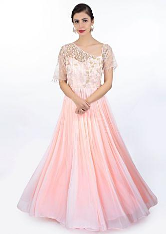 Baby pink georgette gown in net bodice with floral embroidery