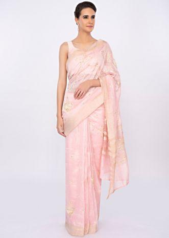 Baby pink linen saree with embroidered butti only on kalki