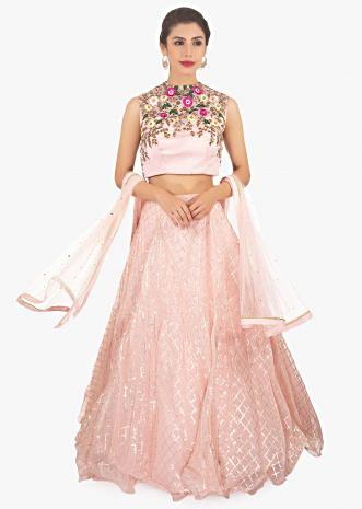 Baby pink organza lehenga set with matching net dupatta