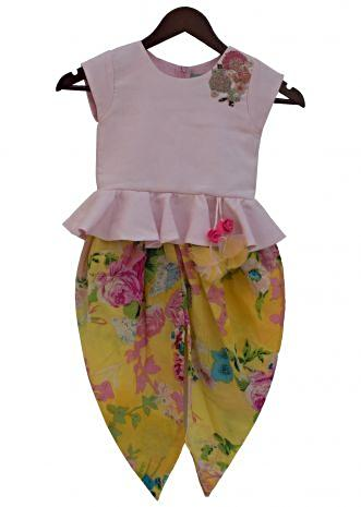 Baby Pink Peplum Top with Yellow Printed Dhoti by Fayon Kids