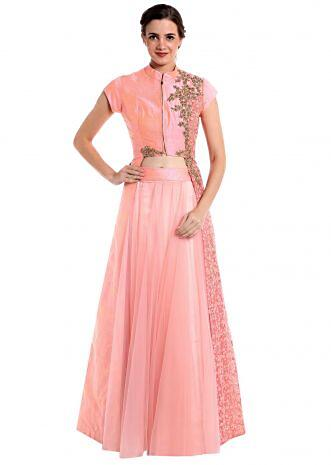 Baby pink raw silk and net lehenga blouse crafted with zari only on Kalki