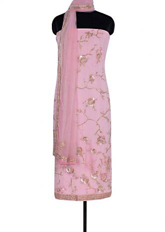 Baby pink unstitch hard net suit in floral jaal embroidery only on Kalki