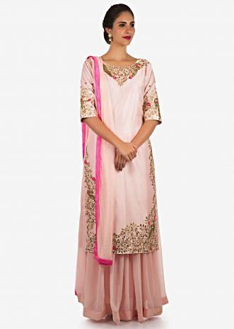 Baby pink palazzo suit embellished in gotta patti and cut dana embroidery work only on Kalki