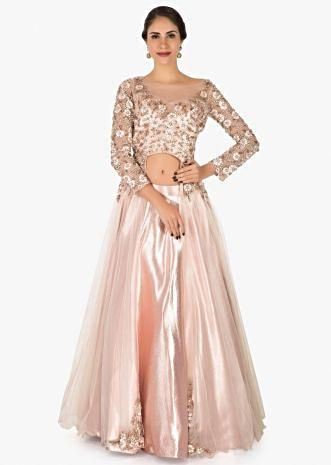 Baby pink skirt and jacket in satin and net adorn in moti and resham embroidery work only on Kalki