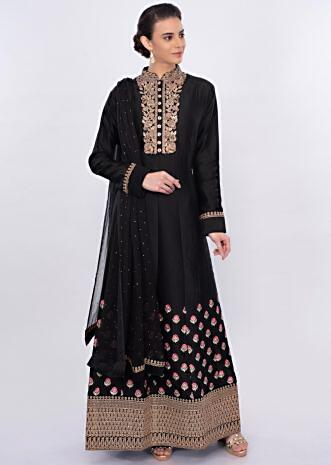 Back floral embroidered anarkali dress only on Kalki