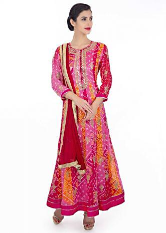 Bandhani georgette anarkali suit n shades of pink and orange paired  with rani pink  chiffon dupatta