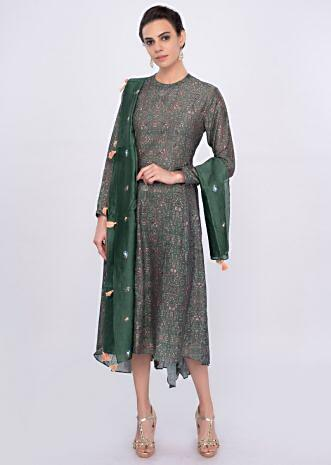 Basil  green cotton silk floral printed kurti only on Kalki