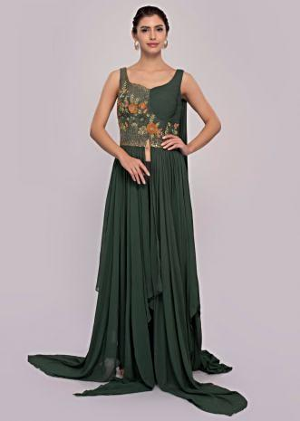 Basil green net skirt paired with long peach georgette top only on Kalki