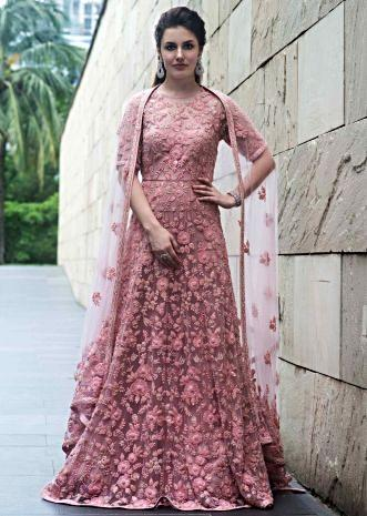 18459c22cd Beige anarkali suit featuring in net with pink floral jaal motif embroidery  ...