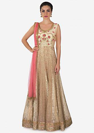 Beige anarkali suit in embroidered net with resham embroidered blouse only on Kalki