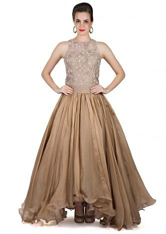 Beige and Gold Organza and Fancy Embroidered Net Gown Only on Kalki only on Kalki