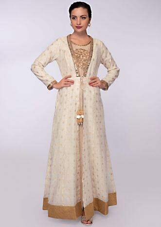 Beige cotton jute tunic dress with an off white long cotton jacket