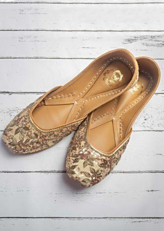 Beige Juttis In Linen With Rose Gold Sequins And Zardozi Work In Floral Pattern By Vareli Bafna