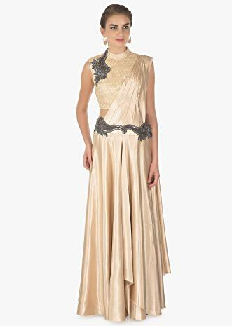 Beige milano satin skirt with a  attached pallo and fancy fabric blouse