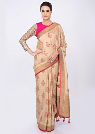 Beige silk saree in weaved butti only on kalki
