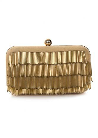 Biege clutch enhanced in tasseled embroidery work only on Kalki