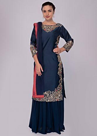 Berry blue long cotton top with matching skirt and net dupatta