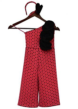 Black and Pink one shoulder Jumpsuit By Fayon Kids