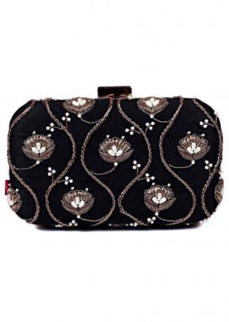 Black clutch with with floral and jall motif work