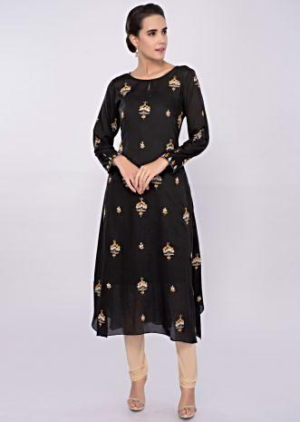 Black cotton kurti with floral butti only on Kalki