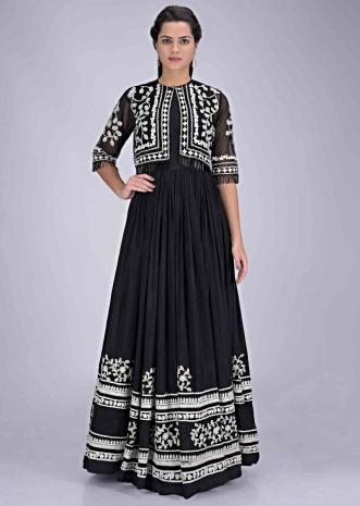 2da41880ff Black cotton silk gown with embellished net short jacket only on Kalki ...