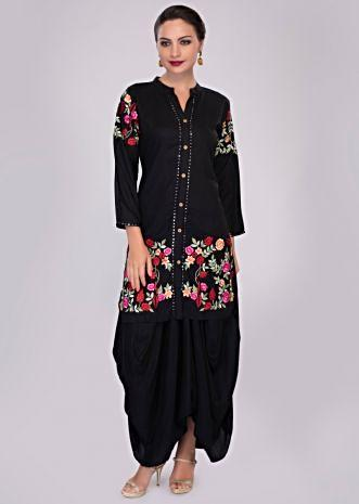 Black fancy cotton skirt with matching long top enhanced in floral resham embroidery