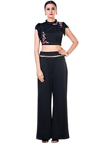 Black Fringe Sleeveless Crop Top with Floral Embroidery and Black Palazzo Pant