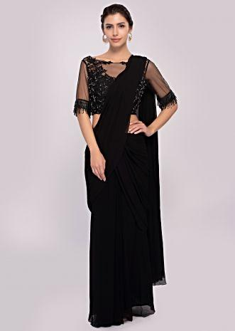 e91af56d0c Black georgette ready pleated saree with cut dana embroiderd net blouse ...