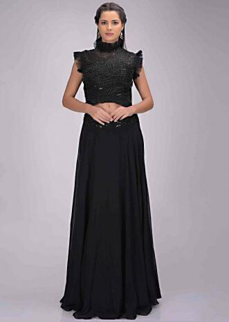 b61afb550 Black georgette skirt with embellished net crop top and attached dupatta  only on Kalki ...