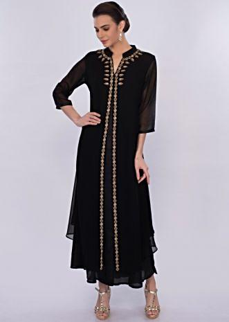 Black georgette tunic dress with front slit only on Kalki