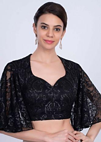 Black hard net blouse with flared circular sleeves only on Kalki