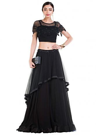 Black Layered Lehenga With Embroidered Cape & Belt