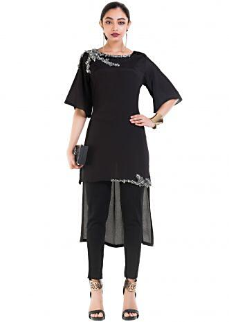 Black Long Short Tunic With Box Sleeves.