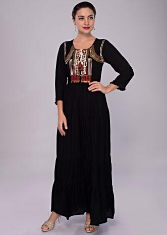 Black long tunic dress with multi color thread embroidery