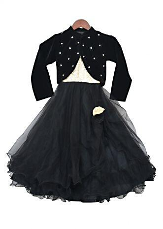 Black Net Gown in sequin bodice with Shrug By Fayon Kids
