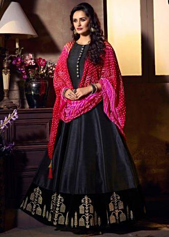 Black raw silk anarkali dress with shaded bandhani dupatta