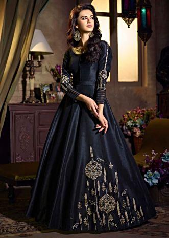 Black raw silk anarkali suit with banarasi brocade dupatta