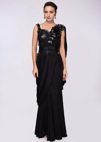 Black satin saree gown with fancy fabric bodice and draped pallo