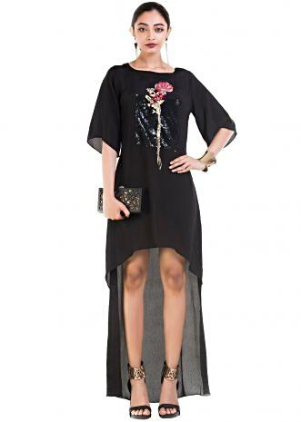 Black Short Long Tunic Dress With Box Sleeves