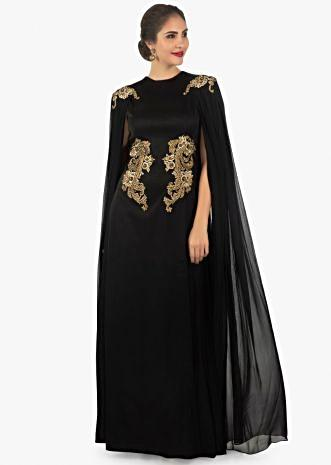 Black silk georgette dress with a attached pleated cape