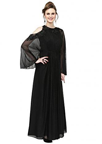 Black Georgette Gown with 3D Flowers and Embroidery only on Kalki
