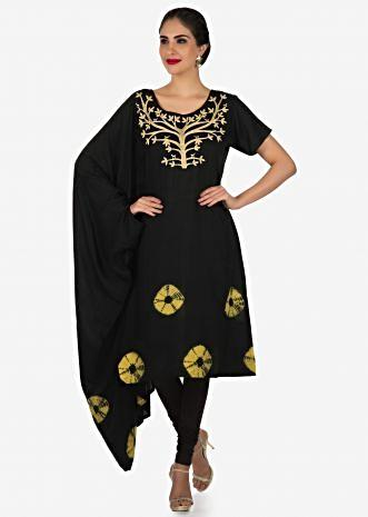 Black kurti in cotton with fancy sleeve and bandhani print only on Kalki