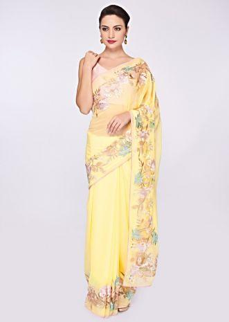 Blonde yellow georgette saree with net embroidered border
