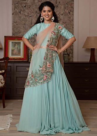 Blue anarkali dress with contrasting pink net dupatta
