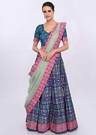 Blue and pink patola printed lehenga set with pista green organza dupatta only on Kalki