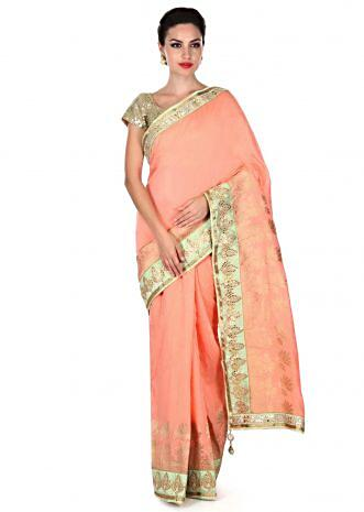 Peach saree with gotta patch border only on Kalki