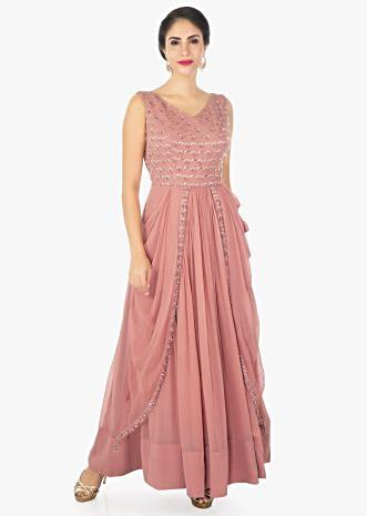 Blush peach georgette dress with gathers and side cowl drape